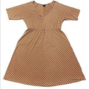 Torrid Gray & Orange Striped V-Neck Dress